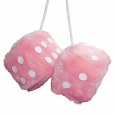 FUZZY FLUFFY FURRY PINK DICE HEN PARTY GIRL CAR MIRROR HANGING STRING,NEW