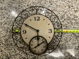 """Vintage Very Rare Style Springfield Wall Metal Clock and Thermometer 14"""""""