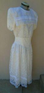 Gunne Sax By Jessica McClintock White Lace Dress Sailor Collar