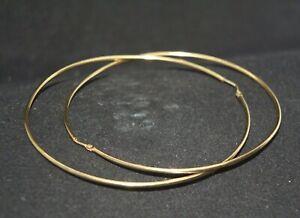 100% Genuine 9k Solid Yellow Gold Extra Large Hoop Earrings 7.2 cm
