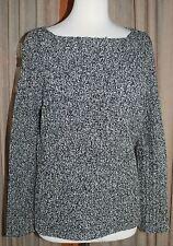 RALPH LAUREN Sweater - Boatneck Collar - Black/White Marled - Silk/Linen Blend