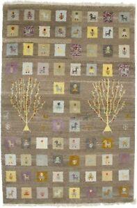 Handmade Brown Tribal Plush 4X6 Wool Indo-Gabbeh Oriental Rug Kids Room Carpet