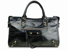 Sac à main cuir italie verni patiné noir borse vera pelle handbag modèl eva city