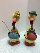Vintage Pair West Germany Golfer Caddy Nodders Easter Chickens Candy Containers