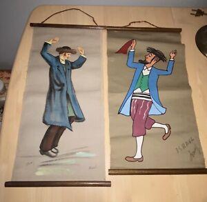 Signed, Israel, 2 Scrolls Paintings On Cloth Of Jew Jewish Dancers