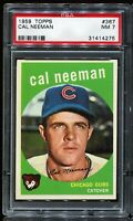 1959 Topps Baseball #367 CAL NEEMAN Chicago Cubs PSA 7 NM