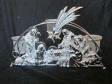 "Large 14"" x 9"" Nativity Scene Silver Christmas Tea Light Votive Candle Holder"