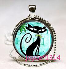 Vintage Mod Black Cat Cabochon Tibetan silver Glass Chain Pendant Necklace #570