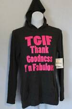 NEW Womens Hooded Long Sleeve Graphic Shirt Large Top TGIF Fabulous Gray Lt Wt