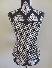 WHITE HOUSE BLACK MARKET Geo Embroidered Bustier Black & White - 6 - $98 - NWT