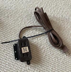 "Vintage Brown Art Deco Retro Home Outlet Power Extension 15"" Cord"