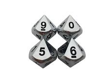 4 Pack of D10 - Shiny Chrome / Silver Color with Black Numbering Metal Dice Set