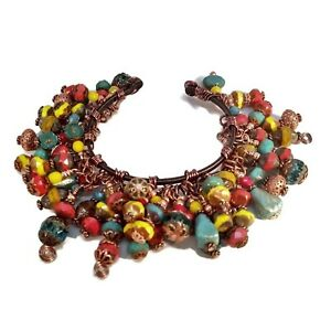 Red, Turquoise (Blue Green) & Yellow Beaded Charm Cha Cha Copper Cuff Bracelet