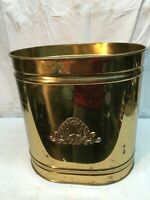 Vintage Brass Mid Century Oval Trash Can 12in tall x 11in Oval Musical Harp
