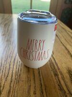 "Rae Dunn ""MERRY CHRISTMAS"" White 12 oz Tumbler w/ Lid ~ Coffee Tea Wine Cup"