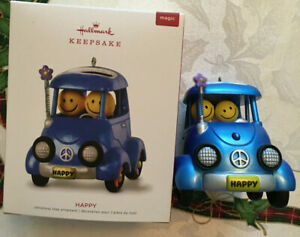 Hallmark Happy Ornament 2018 New Smiley Faces Magic Battery Included Car Peace
