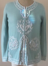STORYBOOK KNITS Vintage Butterfly Zippered Sweater Cardigan Blue White Sequins S