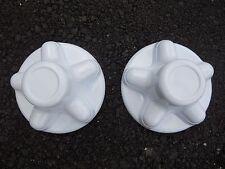 """(2) White Trailer Wheel Hub Cap Cover 5 lug 5 x 4.5"""" pattern, cargo,camper QT545"""