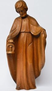 Große Krippenfigur Skulptur Holz Linde handgeschnitzt Josef mit Lampe Höhe 37 cm