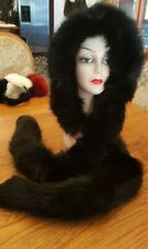 BLACK FOX HOOD/HAT WITH DETACHABLE TAILS