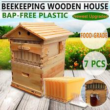 Beehive Cedarwood Brood Box + 7pcs Auto Flow Honey Hive Frames Beekeeping