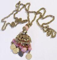collier rétro pendentif cloche perle de porcelaine rose bijou couleur argent *C5