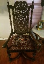 Antique Walnut Renaissance Revival High Back Throne Chair with Needlepoint Seat