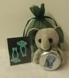 Elephant theme gift set - Soft toy, brush & hair clips in green gift bag
