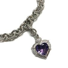 Judith Ripka Sterling Silver Link Amethyst Heart Pendant with CZ Necklace