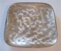 Vtg Footed Hologram Faux Mother of Pearl Reflective Metal Dish Candle Display