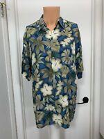 Pierre Cardin Mens Tropical Hawaiian Shirt Rayon Aloha Leaf Print blue m medium