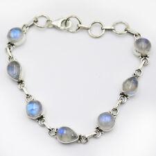 Armband Mondstein  Silber 925 Blau schimmernd  7 Cabochon Edelsteine  19cm