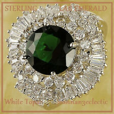 SIZE 8  ROUND CUT Cocktail NEW LADY EMERALD QUARTZ WHITE TOPAZ GEM STERLING RING