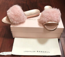 LOEFFLER RANDALL Women's Domino (Shearling) Slide Sandal Pink/Gold- Size 7 $395