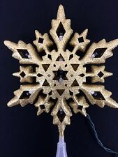 """HOLIDAY LED CHRISTMAS TREE TOPPER WARM WHITE GOLD GLITTER STAR 10"""" SNOWFLAKES"""