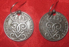 OLD VINTAGE 20MM SWEDISH SWEDEN IRON COIN CROWN  EARRINGS SET