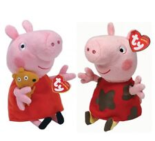 "Set of 2 TY Beanie Baby 6"" PEPPA & MUDDY PUDDLES Pig Plush w/ MWMTs Heart Tags"