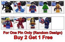 BUY 2 GET 1 FREE Lego Superhero PVC Kids Badge Pin Brooch Party Loot Bag Fillers