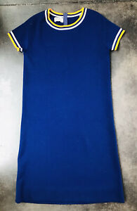 Vintage 60's-70's Goldworm 100% Merino Wool Shift Dress Size 14 Made in Italy