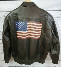 Wilsons Leather Brown Leather A2 Aviator Bomber Jacket American Flag Men's Large