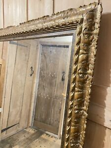 LARGE AND  LATE 19th CENTURY ANTIQUE WOODEN AND GILT FRAMED MIRROR