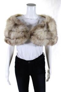 """Designer Fox Fur Shawl Beige Brown 40"""""""
