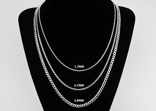 Curb Chain Necklace STERLING SILVER 14 16 18 20 22 24 30 36 inch 1.7mm 2mm 3.8mm