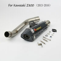 Motorcycle Full Exhaust System Middle + Tail Pipe For Kawasaki Z800 2013-2016