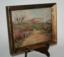 Vintage Impressionist Oil Painting. Italian Landscape. Hill Top Town, Monastery?