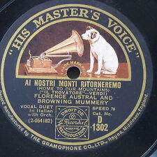 "78rpm 12"" FLORENCE AUSTRAL & BROWNING MUMMERY al nostri monti ritorneremo D 1302"
