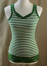 Vanity, XS, Green Striped Lace Trim Ribbed Tank