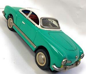 Vintage Tin Toy Friction Car Karmann Ghia Sedan Green MF743 China