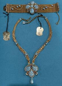 Vtg. Hobe' Necklace & Bracelet Set. Faux Turquoise And Rhinestones. Gold Mesh