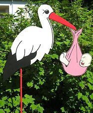 *80 cm+*STORCH holz mit Baby ROSA XL°Klapperstorch*GEBURT,GESCHENK*Baby*Hochzeit